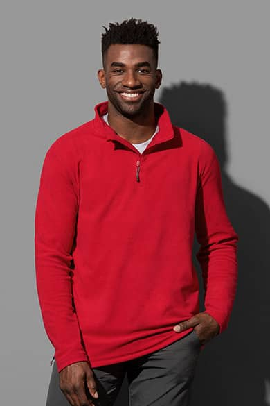 Fleece pullover with half-zip for men